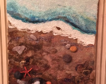 No.18 Beach Study - Wet felted wall hanging