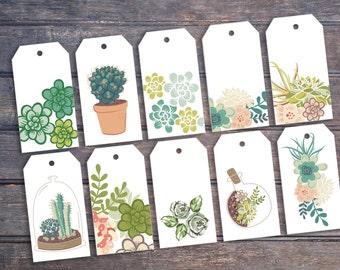 Botanical gift tags | Printable digital download | Botanical succulents foliage green grey | Cacti gift tags | Succulent gift tags