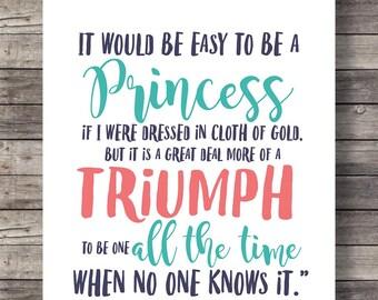 Princess quote, Frances Hodgson Burnett, Little Princess quote, Nursery art print, wall decor, Girls room decor, Printable wall art, nursery