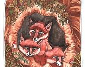 Art - Art Print - Fox Family Print - Fox Illustration Print - 8x10 Print - Fox Print - Fox Artwork - Fox Art Print - Family of Foxes