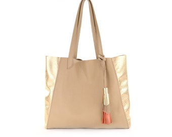 Tan/Gold Leather Tote