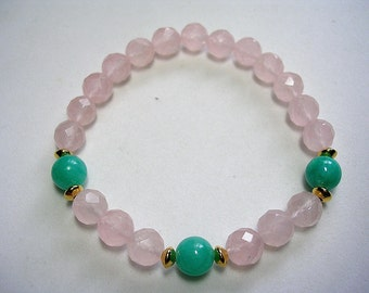 Rose Quartz Chakra Bracelet Light Pink and Turquoise Jade with Gold Accents Healing of the Heart
