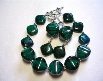 Green Gemtone Bracelet Gemstone Earrings Lampwork and Stone Chrysocolla Bracelet and Earring Set Leverback Earrings Toggle Bracelet