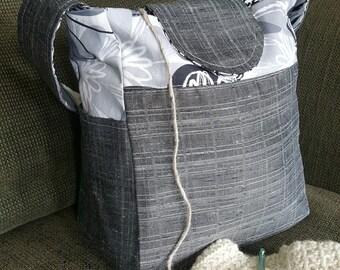 "Knitting Bag, Medium tote, small bag, gray handbag, Yarn Dispenser, Project bag, 11"" x 9.5"" x 6"", purse, bag, organizer, storage, crochet"