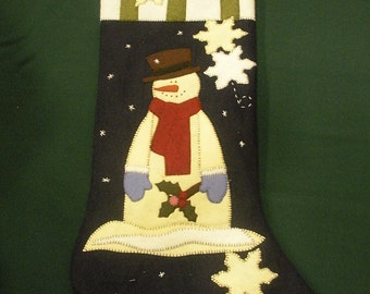 Wool Appliqued Snowman Christmas Stocking