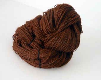Cocoa - Huacaya Alpaca Handspun Yarn Soft Sport Weight Hand Spun Yarn Natural Fiber