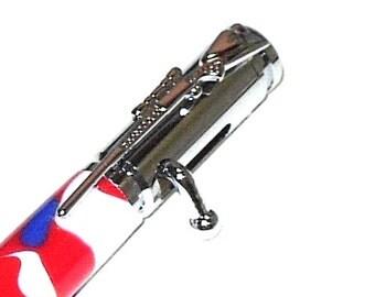 Rifle Pen 30 Caliber Bolt Action Chrome Bullet Cartridge Pen with Patriotic Camo Acrylic RF13 Handmade