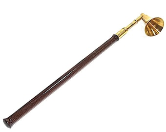 Brass Candle Snuffer Wenge Wood Handle with Gift Bag 27 Hand Turned