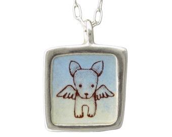 Angel Dog Necklace - Dog Memorial Necklace