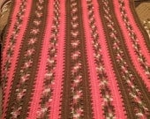 Shades of Pink and Brown Afghan/Blanket/Throw