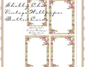 Shabby Chic vintage wallpaper button cards