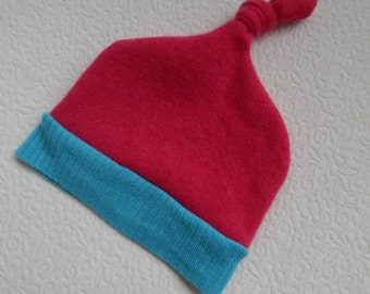 Recycled Turquoise and Pink Cashmere Baby Hat  12-24 months