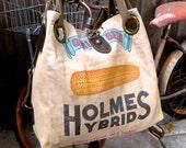 Holmes Hybrid - Edelstein Illinois - Open Tote - Americana OOAK Canvas & Leather Tote W- vtg fabric... Selina Vaughan Studios