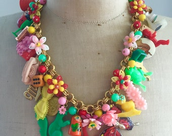 Vintage Toy Necklace, Flower Necklace, Statement Necklace - Babes In Toyland