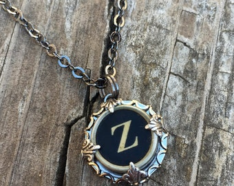 Letter Z  Vintage Typewriter Key Necklace