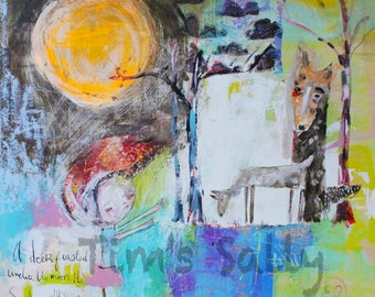Moon Deer Coyote - mixed media art print by Mindy Lacefield
