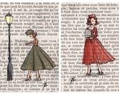 Postcards - Paris Vintage Bookish Postcards - Parisian Ladies