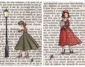 Postcards - Paris Vintage Bookish Postcards - Parisian Ladies