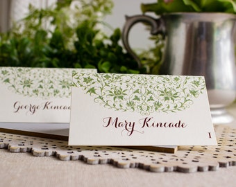 vintage menu wedding reception place cards - greenery place cards - foodie wedding place card - farm to table wedding - food lovers wedding
