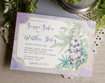 Texas Bluebonnets Wedding Invitations - wildflower wedding - spring garden wedding - Texas wedding invitation - watercolor wedding