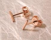 7mm x 1mm Dainty Stud Earrings Rose Gold Line Studs Small 14k Minimal Bar Earrings by Susan SARANTOS on Etsy