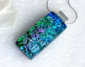 Dichroic Fused Glass Pendant Necklace Jewelry Blue Layered Textured Silver Necklace 001187