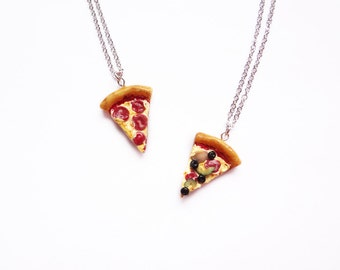 pizza necklace, pepperoni or supreme. with optional alphabet initials