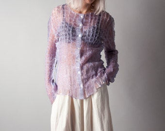 ballatetta sheer lavender micropleat blouse / micropleat top / fitted button down / m / 1297t