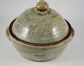 Cream Rust Vegetable or Rice Steamer Wheel Thrown Stoneware Pottery