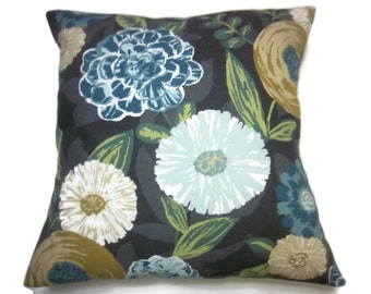 Decorative Pillow Cover Shades of Blue, Gold, Green, White, Gray, Black Bold Frolicing Floral Design Same Fabric Front/Back 18x18 inch