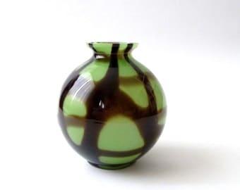 Kralik Webbed Art Glass Ball Vase Czechoslovakia Deco Bohemian