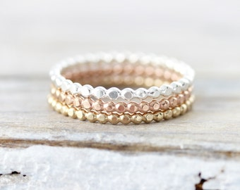 Dotted stacking rings in sterling silver, gold filled or rose gold filled