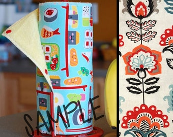 Tree Saver Towels - Paisley Flowers - Reusable, Eco-Friendly, Snapping Paper Towel Set - Cotton and Terry Cloth