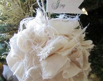 Shabby White Rag Ball Rustic Christmas Tree Ornament