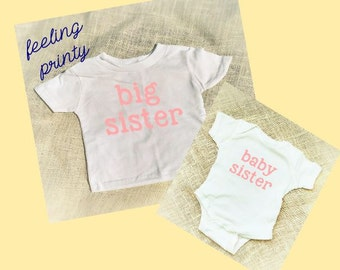 Baby Sister Big Sister Shirts Sibling Shirt New Little SisterPregnancy Announcement Baby Gift