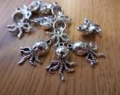 Silver Octopuss Steam Punk Jewelry LOT Charms Finding Assemblage Scrapbook Art DIY Steam Punk