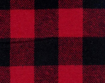 Buffalo Check - Red and Black - 3/4 Inch - Plaid Woven Cotton Flannel Fabric - One Yard