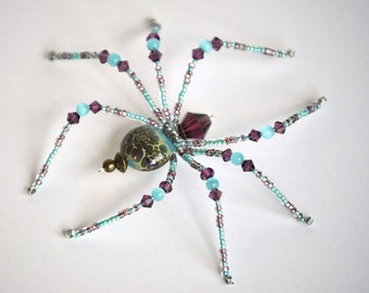 Ziza - purple and aqua glass beaded spider goth sun catcher - Halloween decoration - Christmas ornament