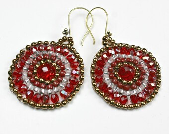 Beaded Red and Bronze Crystal Earrings