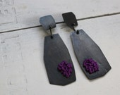 SALE - Large Geometric Knotted Purple Earrings
