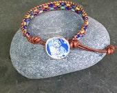 Nancy Drew Leather Wrap Beaded Bracelet Vintage Book Paper Button Style A