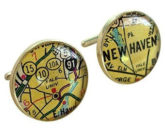 College Cufflinks Custom  University Maps Sterling Silver for the Graduate Vintage Road Atlas Alumni Gift Free Shipping