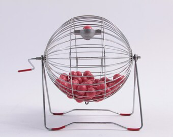 Vintage Bingo Cage With Balls - Old Style - Plastic Balls - Great!