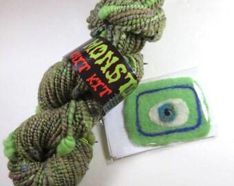 Destash -- Insubordiknit Hand Dyed Handspun Yarn, Monster Hat Kit, with Hand Felted Monster Patch