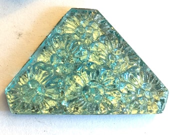 Vintage glass cabochon (1) Aqua blue  jewel carved floral flowers molded stone cab triangle flat back approx 1.5 inches (1)