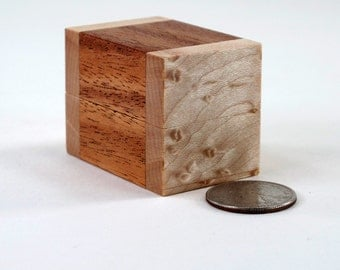 Wooden Ring Box, Birdseye Maple and Mahogany, One Ring, Two Ring Box