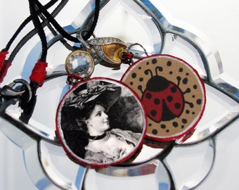 Lady Ladybug Handmade Mixed Media Collage Round Pendants Necklace Vintage Elements Swarovski Rivoli Boucher Cheese and Crackers