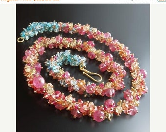 VALENTINES DAY SALE 18k Sapphire and Topaz Necklace