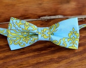 Mens Bow Tie - organic cotton bowtie for men and teenage boy - blue and green/gold bowties - men's unique, custom ties - pre tied bow tie