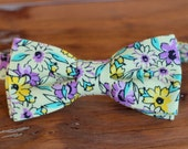 Boys Yellow Floral bow tie, boy's purple flowers cotton bowtie, bow tie for infant baby toddler child preteen, wedding bow tie, birthday tie